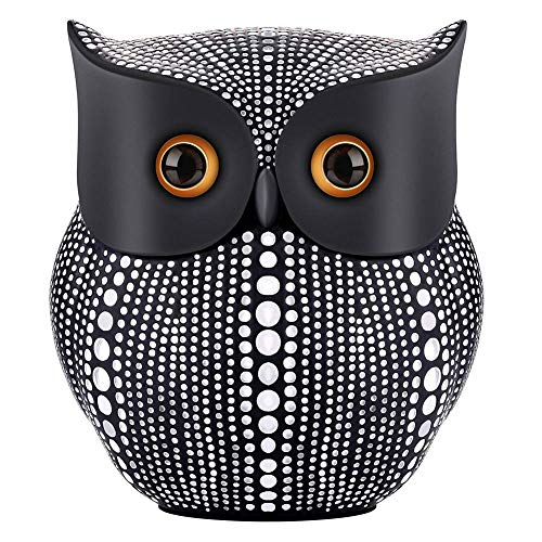 NJCharms Owl Statue Decor, Small Crafted Buho Figurines for Home Decor Accents, Living Room Bedroom Office Decoration, Buhos Bookself TV Stand Decor - Black (Living Room Mantel Decor)