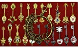 Cosplay Fairy Tail Keys New Collection Set of 21 Golden Zodiac Keys and Keyring, Blade Lucy Natsu Dragneel Heart Keychain Pendant (Red Logo)