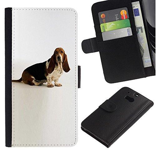EuroCase - HTC One M8 - basset hound white dog canine pet - Cuero PU Delgado caso cubierta Shell Armor Funda Case Cover