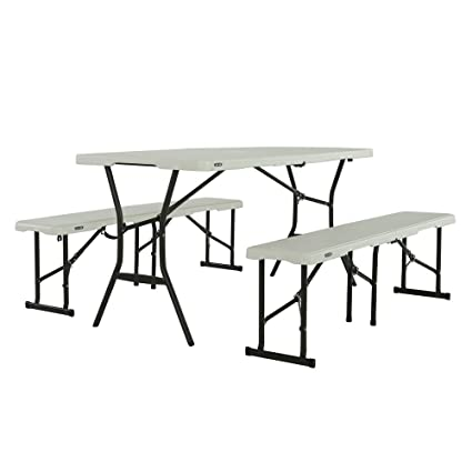 Astonishing Amazon Com Lifetime Fold In Half Table And Bench Set Pearl Download Free Architecture Designs Rallybritishbridgeorg