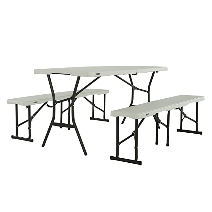Marvelous Amazon Com Lifetime Fold In Half Table And Bench Set Pearl Pabps2019 Chair Design Images Pabps2019Com