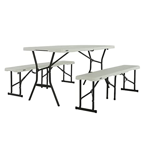 Lifetime Fold In Half Table And Bench Set Pearl