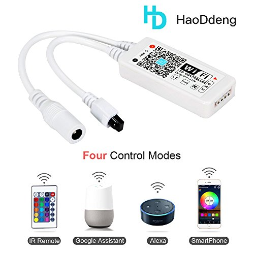 HaoDeng WiFi Wireless LED Smart Controller,Compatible with Alexa&Google Assistant&IFTTT,Working with Android,iOS System and RGB LED Strip Lights,Comes with 24 Keys Remote Control