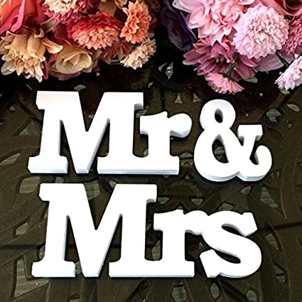 Satyam Kraft Wooden Mr and Mrs Wedding Decor (Multicolour) - Pack of 1