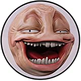 Printing Round Rug,Humor Decor,Poker Face Guy Meme Laughing Mock Person Smug Stupid Odd Post Forum Graphic Mat Non-Slip Soft Entrance Mat Door Floor Rug Area Rug For Chair Living Room,Peach Pearl