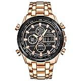 Mens LED Digital Quartz Wrist Watch Tefamore Newest Chronograph Black Stainless Steel Watch (Rose Gold)