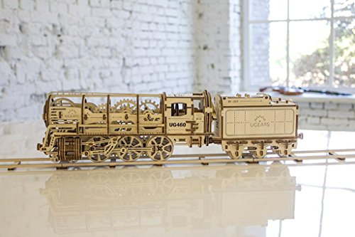 UGears - 460 STEAM LOCOMOTIVE WITH TENDER 3D puzzle is a uni