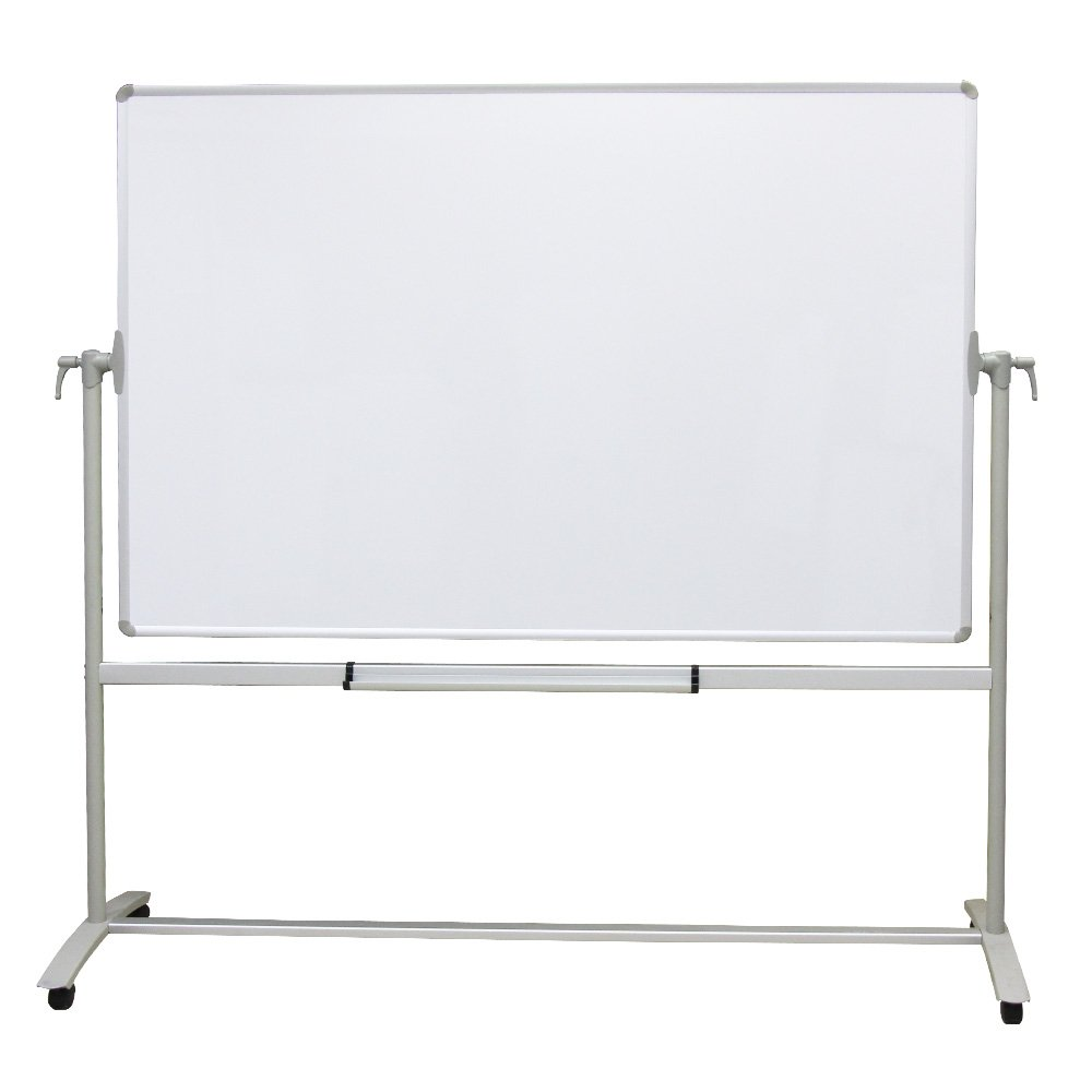 VIZ-PRO Double-sided Magnetic Mobile Whiteboard, 48 x 36 Inches, Steel Stand