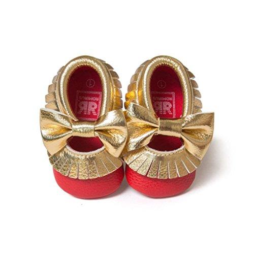 Jamicy® Baby Mädchen Bowknot Quasten Schuhe süße weiche Sohle Prinzessin Freizeitschuhe Rot