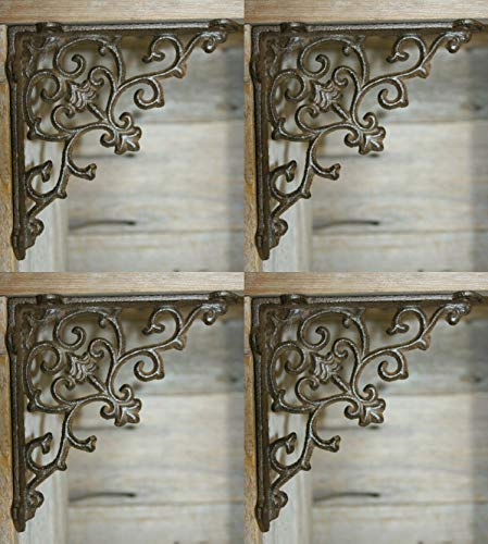 (Southern Metal French Country Farmhouse Shelf Brackets Supports, Cast Iron ~ 5 1/2 inches, Set of 4 ~ B-52B)
