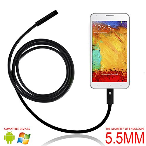 eBerry USB Endoscope, 2 in 1 Micro USB Borescope Waterproof Inspection Snake Camera with LED Flexible Endoscope OTG for Android Smart Phones, Tablets & Computer PC Laptop - 5m/16.5ft (Φ5.5mm)