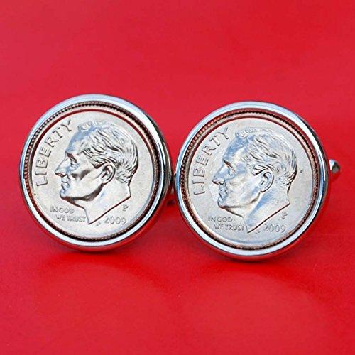(US 2009 Roosevelt Dime Gem BU Uncirculated 10 Cent Coin Cufflinks NEW)