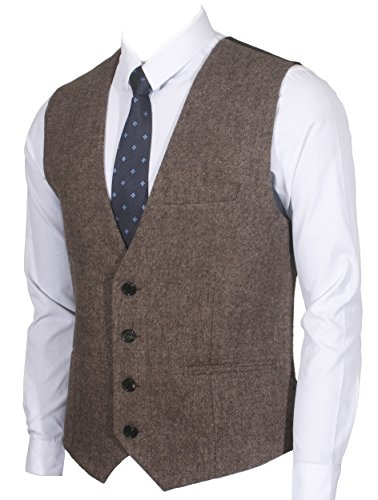 Ruth&Boaz3Pockets4ButtonsWoolHerringbone/TweedBusiness SuitVest (L, Tweed Brown) by Ruth&Boaz (Image #1)