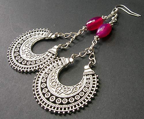 Fuchsia Agate and Silver Crescent Earrings