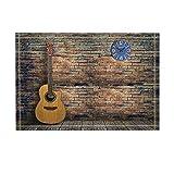 Music Decor Acoustic Guitar on Rustic Wooden Floor with Vintage Brick Wall Bath Rugs Non-Slip Doormat Floor Entryways Indoor Front Door Mat Kids Bath Mat 15.7X23.6In Bathroom Accessories