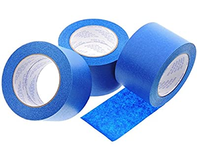 "3 Rolls Premium 3"" in x 60 yd USA PRO Grade Professional Blue Painters Tape Masking Trim Edge Clean Release Easy Removal NO RESIDUE (72MM x 55M 2.82 inch). 3D Printer bed deck cover 3D Print Removal"