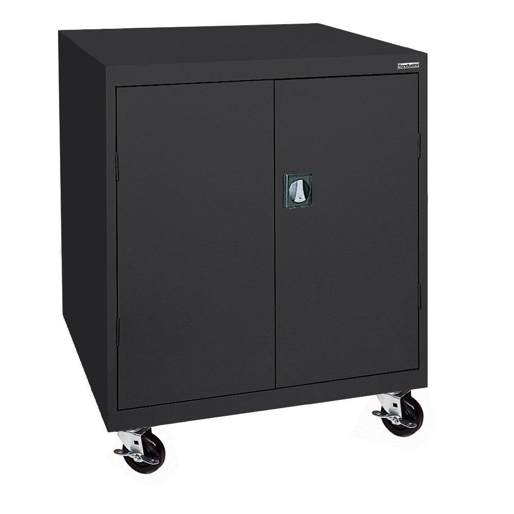 Sandusky Lee TA2R462442-09 Steel Transport Mobile Storage Cabinet, 2 Adjustable Shelves, 48'' Height x 46'' Width x 24'' Depth, Black