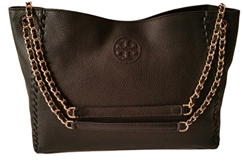 Tory Burch Marion Slouchy Shoulder Tote Black Leather Bag by Tory Burch