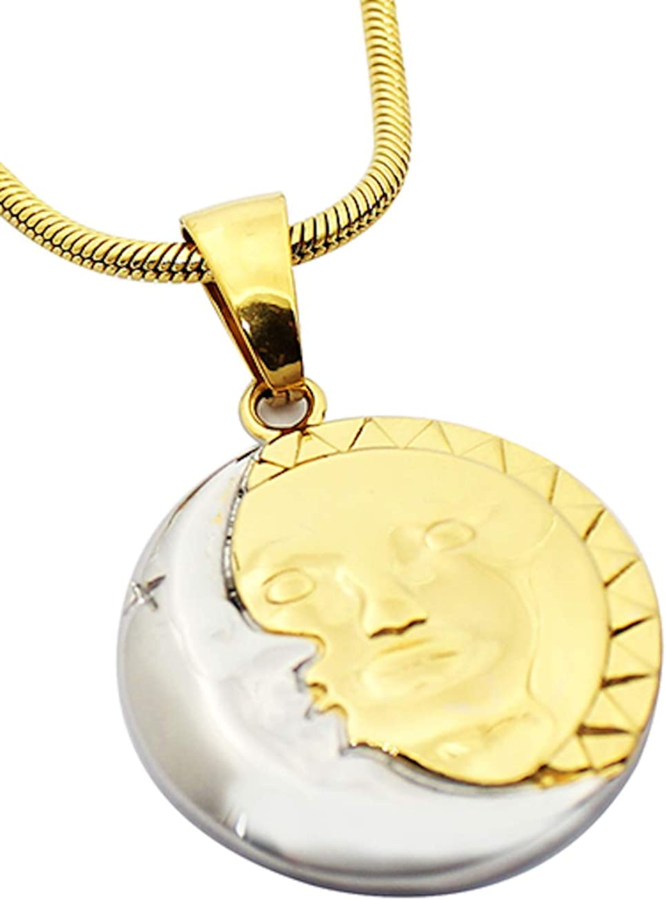 Beautiful Sun Moon Stainless Steel Pendant Necklace, FREE Gift Box!