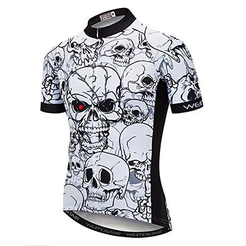 Cycling Jersey Men Mountain Bike Jersey Biking Shirt Jacket 2019 Short Sleeve Top MTB Clothing Rope Skull White Size XL (Best Cycling Jerseys 2019)