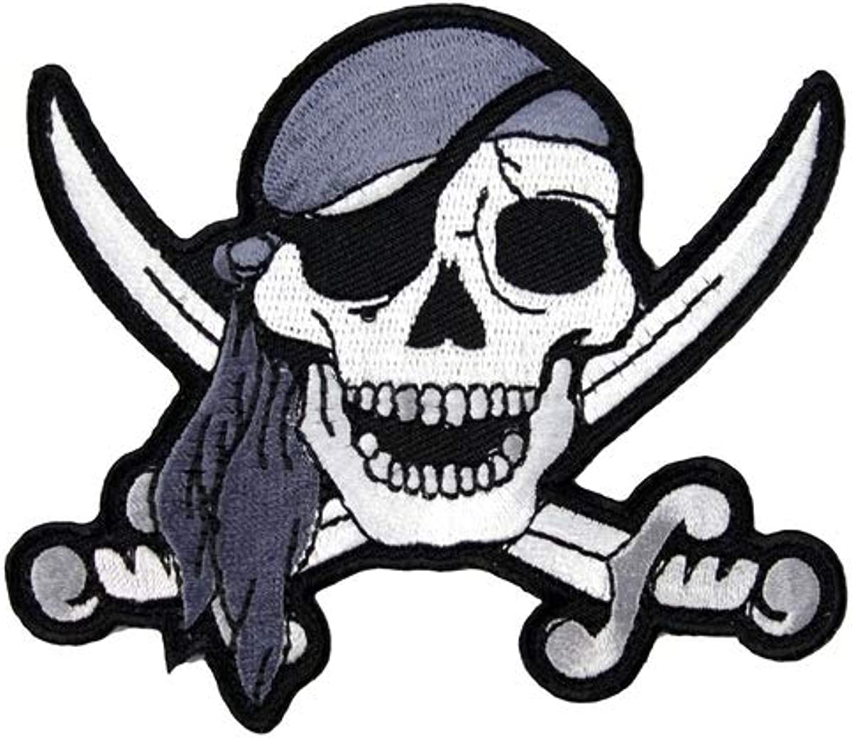 Embroidered White Pirate Sword Skull Sew or Iron on Patch Biker Patch