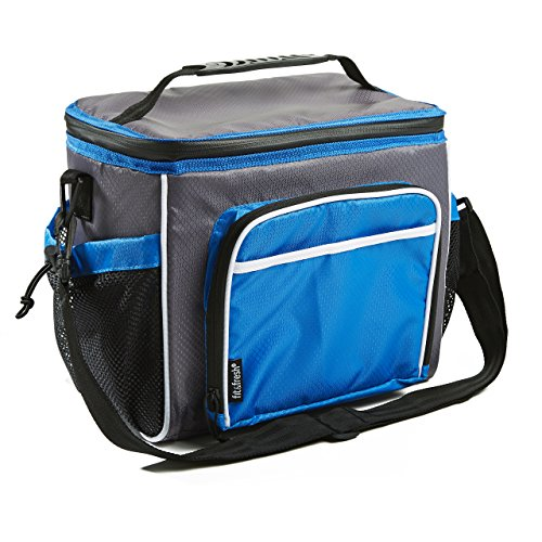 Fit & Fresh Insulated Large Soft Cooler Lunch Bag, 18 Can Capacity - Adjustable Shoulder Strap, Zipper Closure, Leakproof Lining, Black/Gray ()