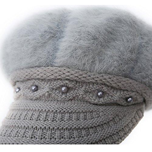 Epsion Women Winter Knit Crochet Newsboy Caps Lady Warm Pearl Knit Beanie Hat by Epsion (Image #4)