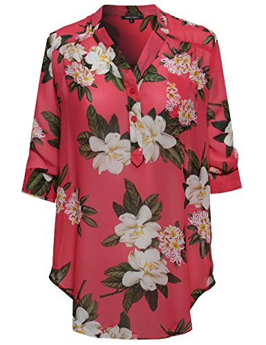 Awesome21 Floral Henley Blouse Dress Shirt Coral Size 2XL