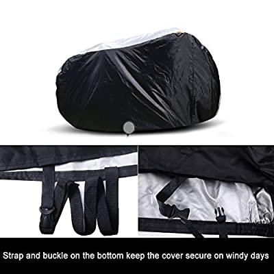 Xcellent Global 210D Polyester Fabric Thicken Waterproof Bicycle Cover for 2 Bikes with Lockhole, Black/Silver, 78x 29.3x 43 inch FS025