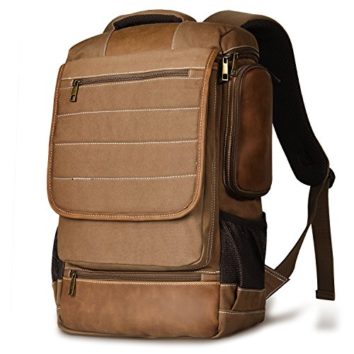 LUXUR 16 Inch Canvas Laptop Backpack Unisex Luggage Travel Students Knapsack (Canvas Laptop Backpack)