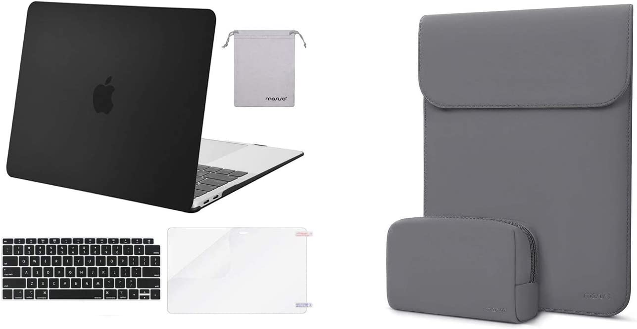 MOSISO MacBook Air 13 inch Case 2020-2018 Release A2179 A1932 with Retina Display, Plastic Hard Shell&Keyboard Cover& Laptop Sleeve Faux Suede Leather Case with Small Bag