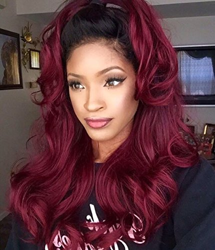 Body Wave Human Hair Lace Front Wigs Ombre Human Hair Wig #1b/red Glueless Full Lace Front Wigs with Baby Hair for Black Women by WY Wigs (Image #1)
