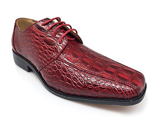 ... Enzo Romeo Gator Menns Alligator Krokodille Print Oxfords Loafers Mote  Slip På Sko Burgendy