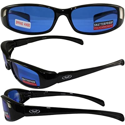 NEW ATTITUDES - Stylish Sunglasses - Blue Lenses, GLOSS Black Frame