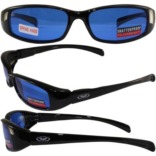 NEW ATTITUDES - Stylish Sunglasses - Blue Lenses, GLOSS Black - Sunglasses Attitude