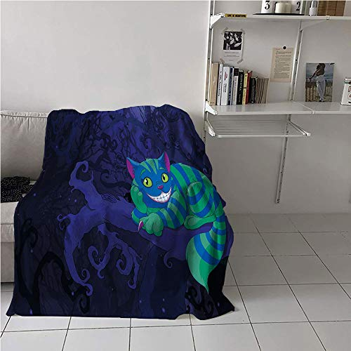 Suchashome Alice in Wonderland Girl Blanket,Chester Cat Sitting on Branch Fairytale Forest with Character,Oversized Travel Throw Cover Blanket,All Season Blanket 57