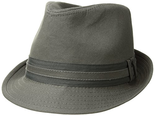 - U.S. Polo Assn. Men's Cotton Twill Fedora Grosgrain Hat Band, Charcoal, L/XL