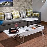 white and chrome coffee table - Acme Furniture 81850 Calnan Lift Top Coffee Table, One Size, White/Chrome