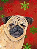 Cheap Caroline's Treasures SC9411CHF Pug Red and Green Snowflakes Holiday Christmas Flag Canvas, Large, Multicolor