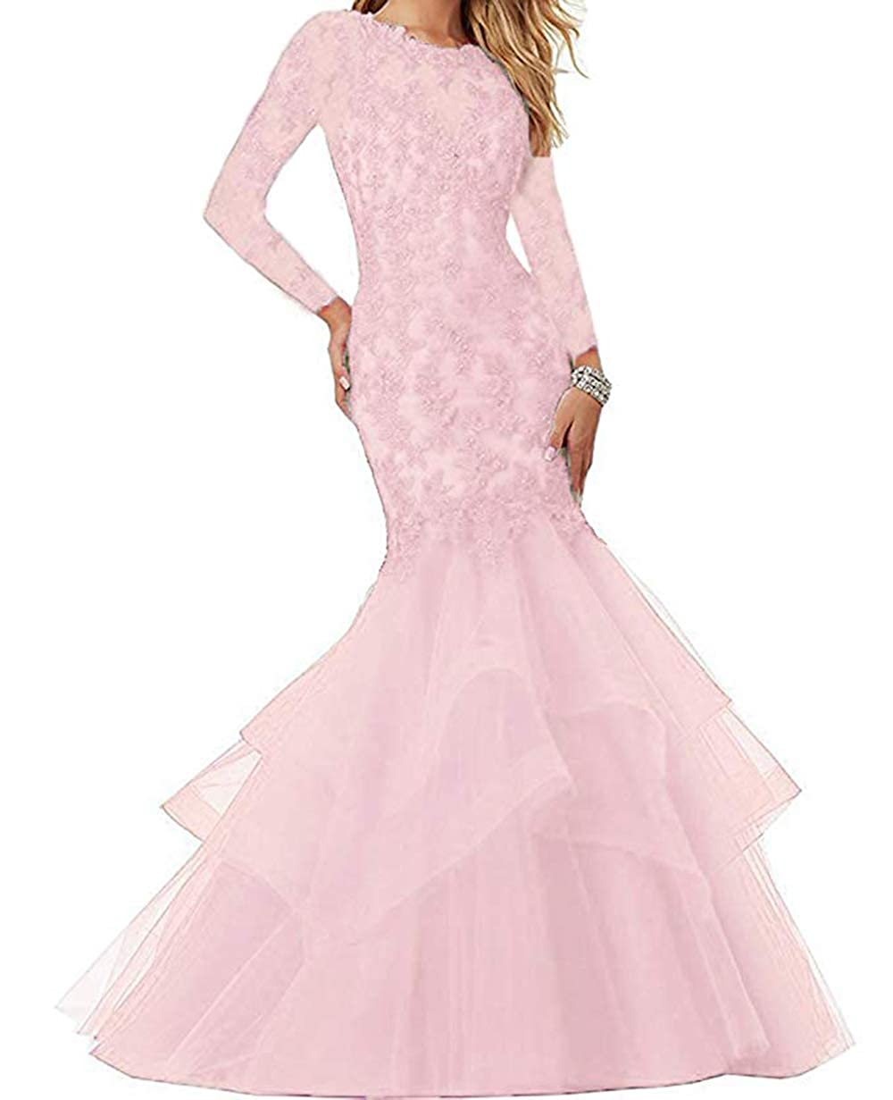 Pale Pink Women's Mermaid Prom Dresses Beaded Lace Appliques Formal Evening Gowns Long Sleeves