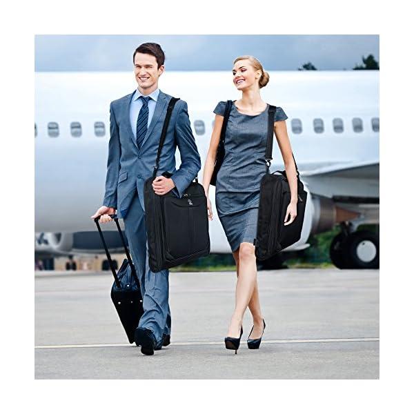 Zegur 40-Inch 3 Suit Carry-on Garment Bag for Travel or Business Trips -  Features an Adjustable Shoulder Strap and Multiple Organisation Pockets –  Black ... 9790fa67c31f5