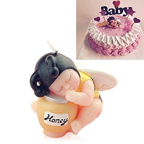 FLYPARTY Children's Birthday Candles with Greeting Card,Handmade Adorable Sleeping Baby Smokeless Baby Shower Baby Birthday Cake Topper Candle, Baby Shower Party Favors Decorations (1, - Edible Baby Favors Shower