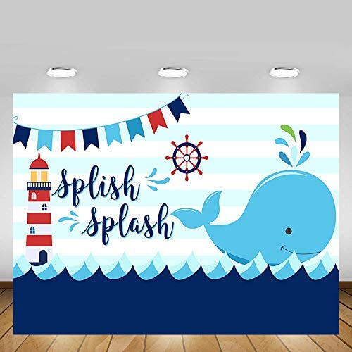 Nursery 6x8 FT Backdrop Photographers,Colorful Whales Dotted Squares Lines Animals Background for Baby Birthday Party Wedding Vinyl Studio Props Photography