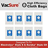 Electrolux Hepa S-Bag for Harmony/Oxygen Canister Vacuum, By VacSure (8 Bags)