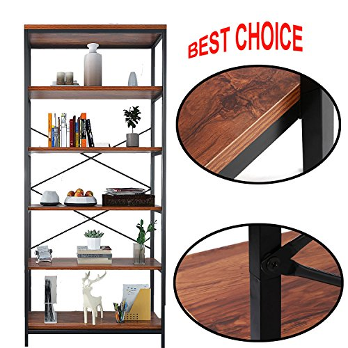 Cheap Dtemple 5-Tier Wooden Free Standing Bookshelf, Multifunctional Storage Rack, Vintage Industrial Style Bookcase Book Organizer Display Shelf for Home and Office, Balcony, Study Room, Livingroom (US STO