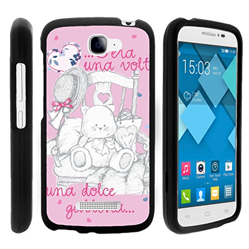 Snap On Case for Alcatel One Touch Fierce 2 7040T , Slim Fit Snug Rubberized Custom Unique Image Cover Shell Black with Designs Pop Icon A564C By TurtleArmor | 2 in 1 Combo Includes Clear Screen Protector and Case - Pink Teddy Bear