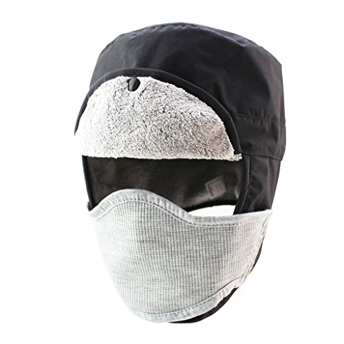 Home Prefer Mens Winter Warm Trapper Hat Waterproof Earflaps Russian Snow Ski Hat with Face Mask Black