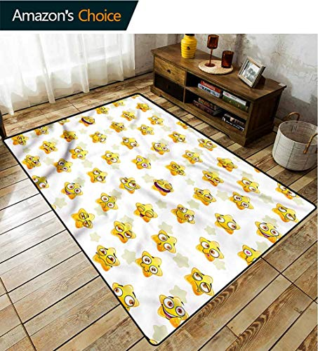 TableCoversHome Sports Area Rug Pad, Cartoon Yellow Stars Pattern Printing Carpet, Durable Carpet Area Rug - Living Dinning Room Bedroom Rugs and Carpets (5'x 8')
