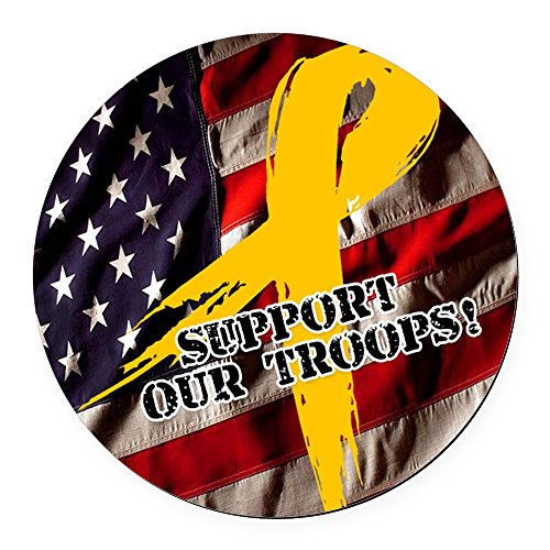 CafePress - Support Our Troops Round Car Magnet - Round Car Magnet, Magnetic Bumper Sticker (Troops Button)