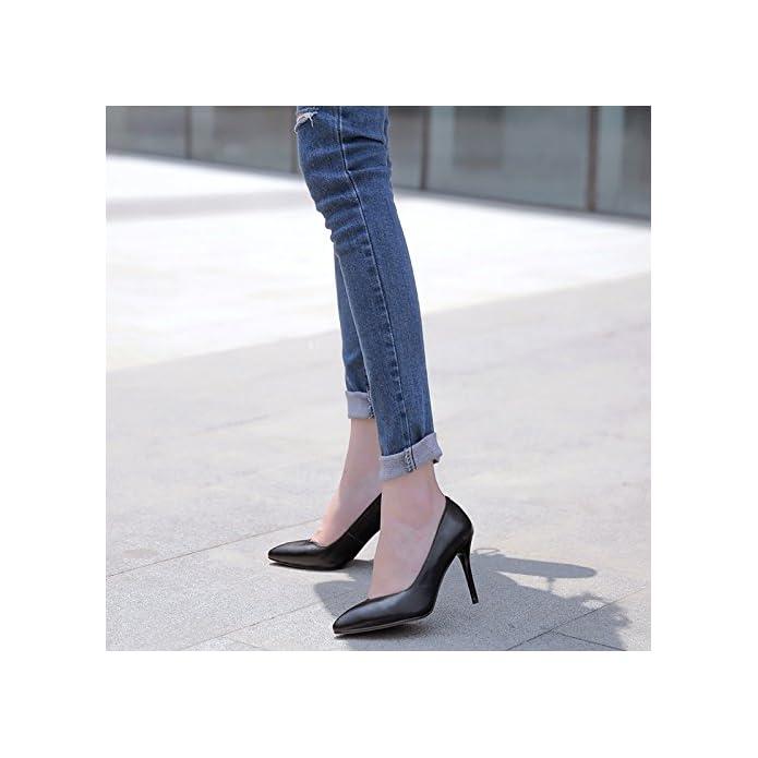 Ajunr Sandali Da Donna Alla Moda Punta Sottile E Leggero Unico Di Scarpe Nero Professional 9cm Tacchi Alti 40
